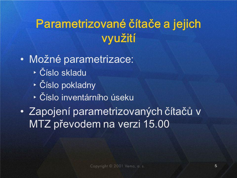 5 Parametrizované čítače a jejich využití Možné parametrizace: ▸Číslo skladu ▸Číslo pokladny ▸Číslo inventárního úseku Zapojení parametrizovaných číta