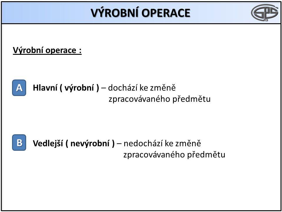 VÝROBNÍ OPERACE A B Výrobní operace : Hlavní ( výrobní ) – dochází ke změně zpracovávaného předmětu Vedlejší ( nevýrobní ) – nedochází ke změně zpracovávaného předmětu