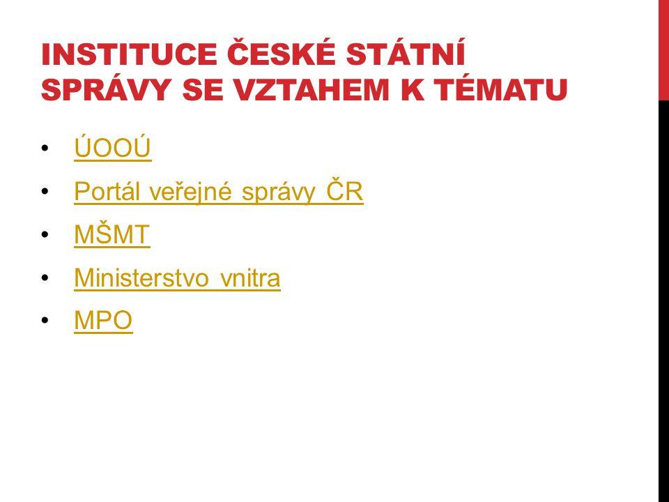 INSTITUCE ČESKÉ STÁTNÍ SPRÁVY SE VZTAHEM K TÉMATU ÚOOÚ Portál veřejné správy ČR MŠMT Ministerstvo vnitra MPO