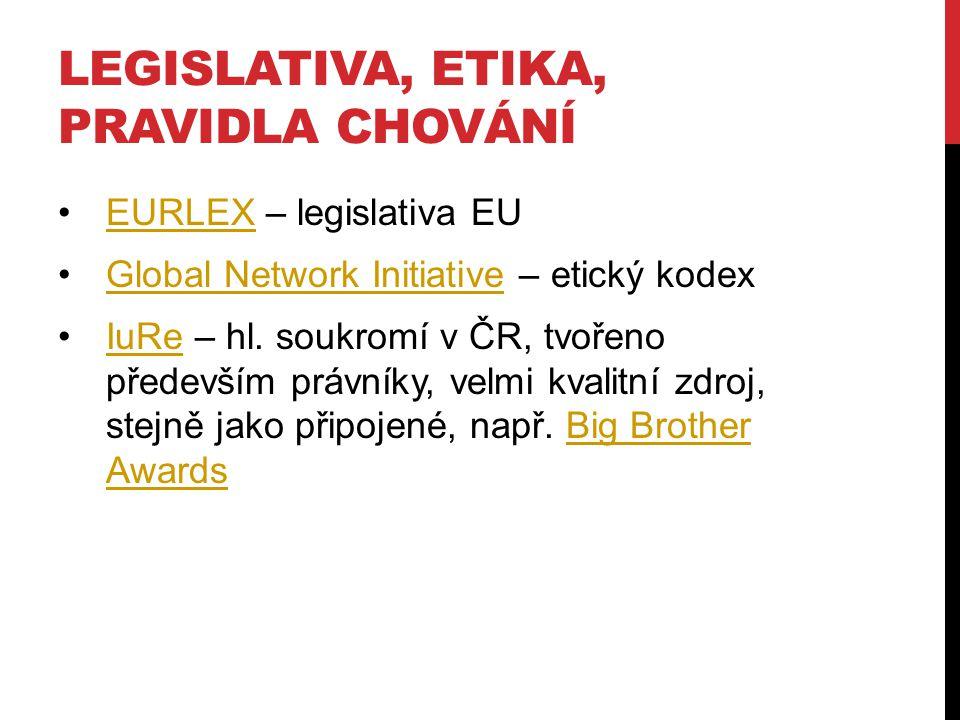 LEGISLATIVA, ETIKA, PRAVIDLA CHOVÁNÍ EURLEX – legislativa EUEURLEX Global Network Initiative – etický kodexGlobal Network Initiative IuRe – hl. soukro