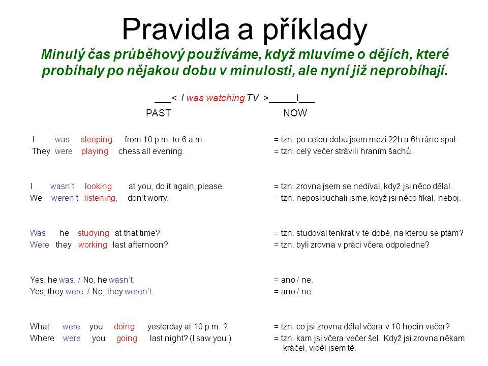 Kladná věta:Podmět + was/were + -ing.tvar slovesa I was sleeping from 10 p.m.