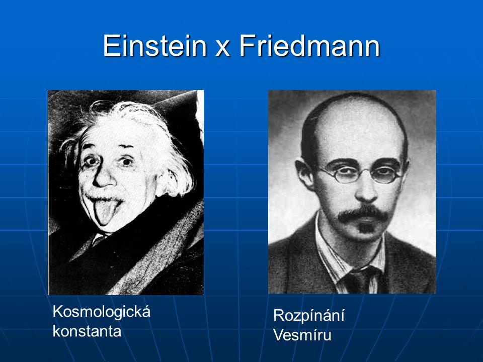 Einstein x Friedmann Kosmologická konstanta Rozpínání Vesmíru