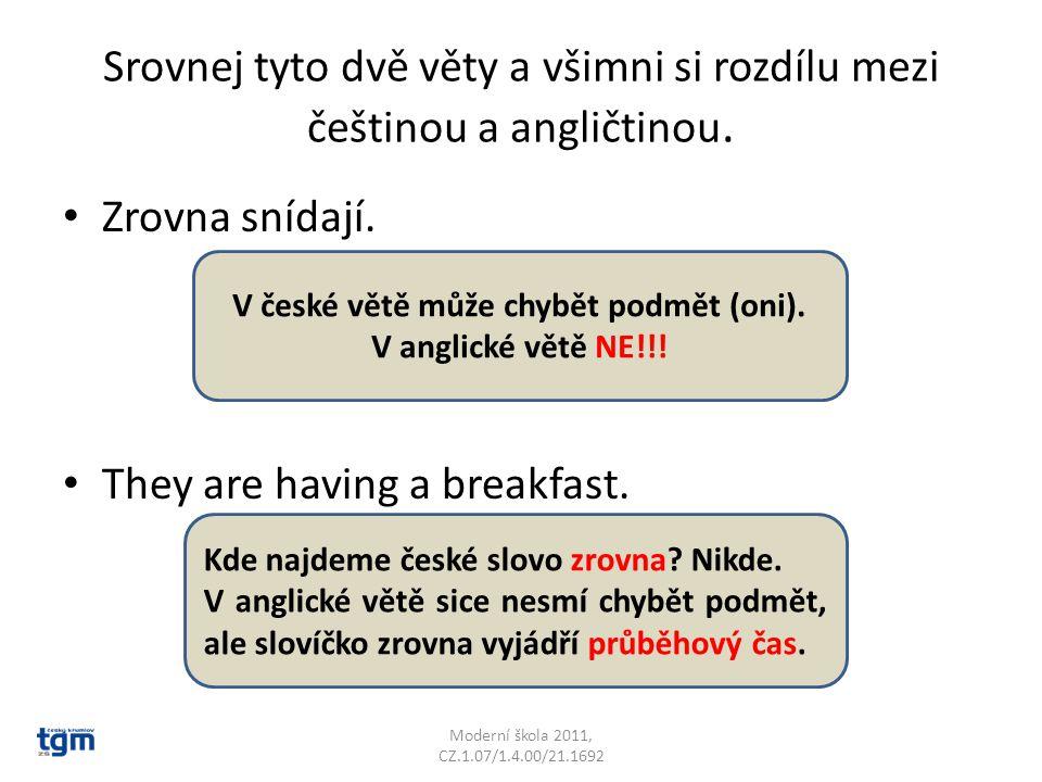 Srovnej tyto dvě věty a všimni si rozdílu mezi češtinou a angličtinou. Zrovna snídají. They are having a breakfast. Moderní škola 2011, CZ.1.07/1.4.00