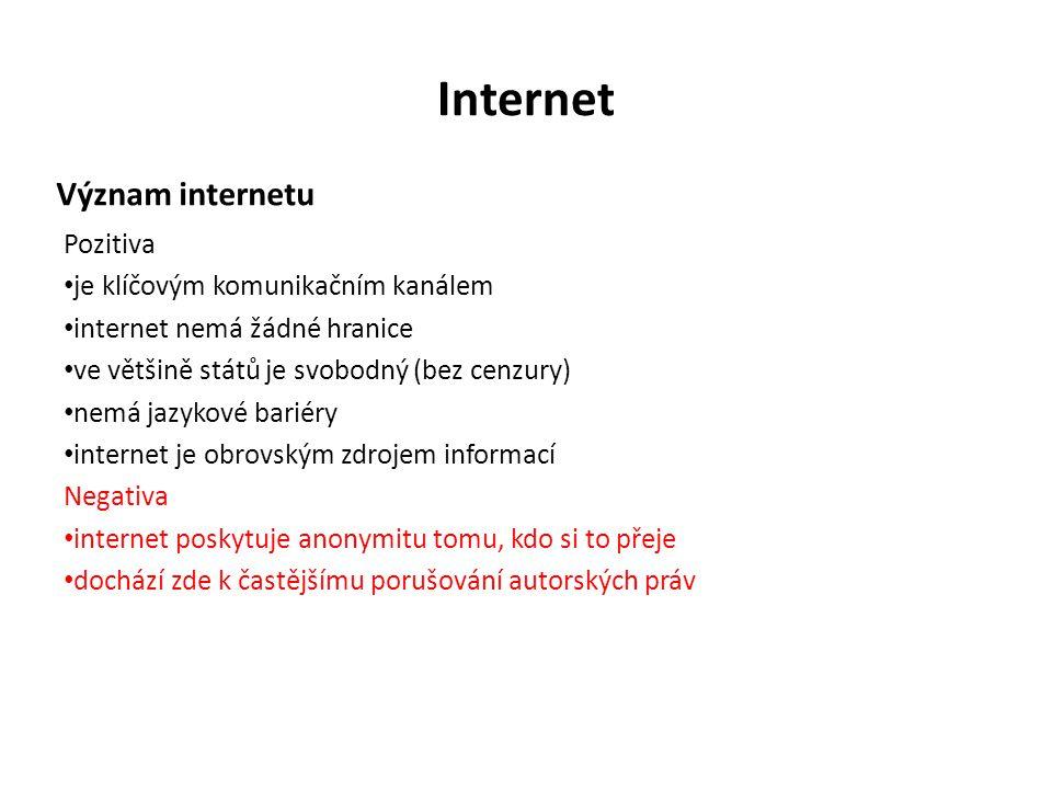 Internet Význam internetu Pozitiva je klíčovým komunikačním kanálem internet nemá žádné hranice ve většině států je svobodný (bez cenzury) nemá jazykové bariéry internet je obrovským zdrojem informací Negativa internet poskytuje anonymitu tomu, kdo si to přeje dochází zde k častějšímu porušování autorských práv