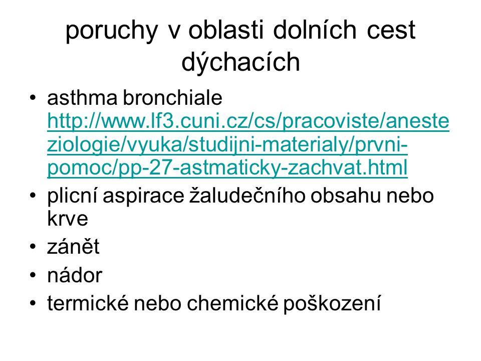poruchy v oblasti dolních cest dýchacích asthma bronchiale http://www.lf3.cuni.cz/cs/pracoviste/aneste ziologie/vyuka/studijni-materialy/prvni- pomoc/