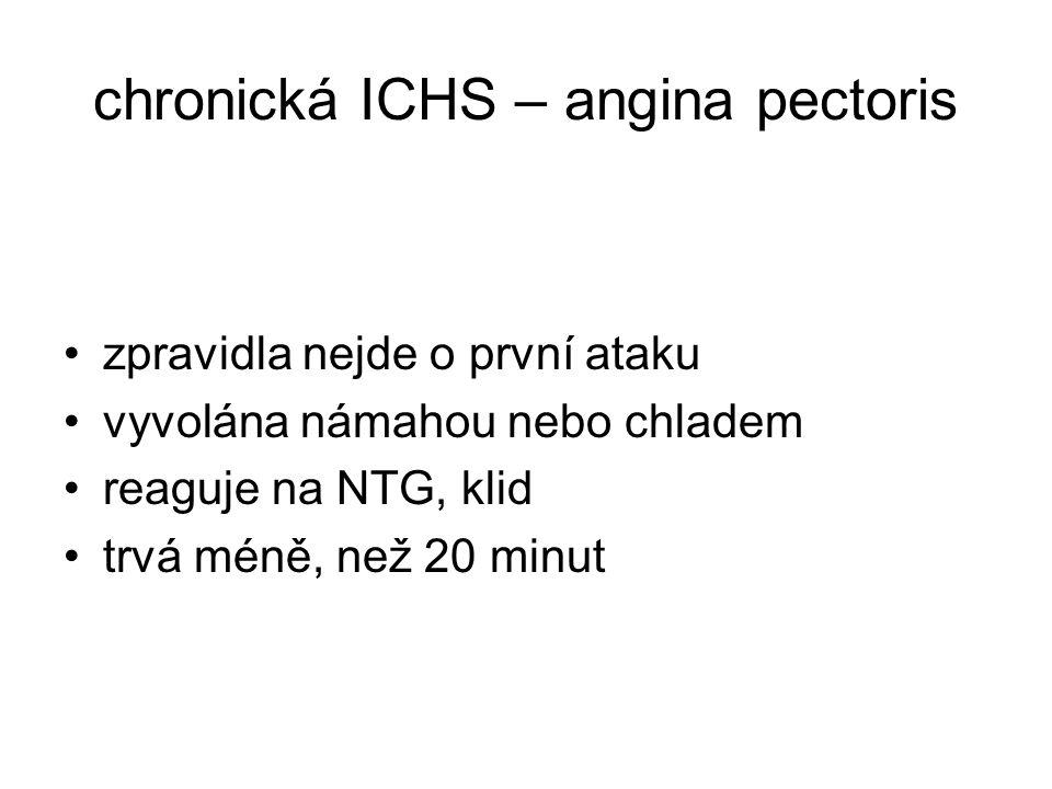 chronická ICHS – angina pectoris zpravidla nejde o první ataku vyvolána námahou nebo chladem reaguje na NTG, klid trvá méně, než 20 minut