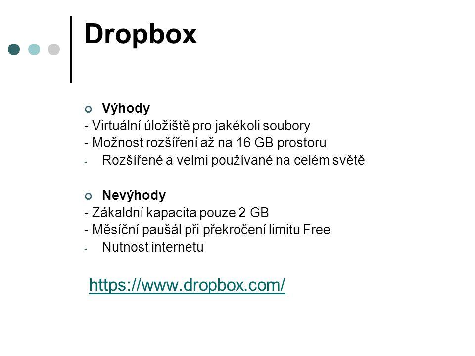Dropbox Výhody - Virtuální úložiště pro jakékoli soubory - Možnost rozšíření až na 16 GB prostoru - Rozšířené a velmi používané na celém světě Nevýhod