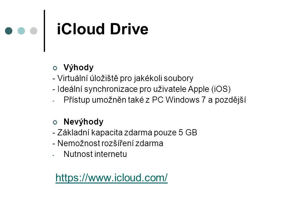 OneDrive od Microsoftu Výhody - Virtuální úložiště pro jakékoli soubory - 15GB úložiště zdarma ihned po registraci - Možnost získat další 8GB Nevýhody - Omezená kapacita - Měsíční paušál při překročení limitu Free - Nutnost internetu https://onedrive.live.com/about/cs-cz/