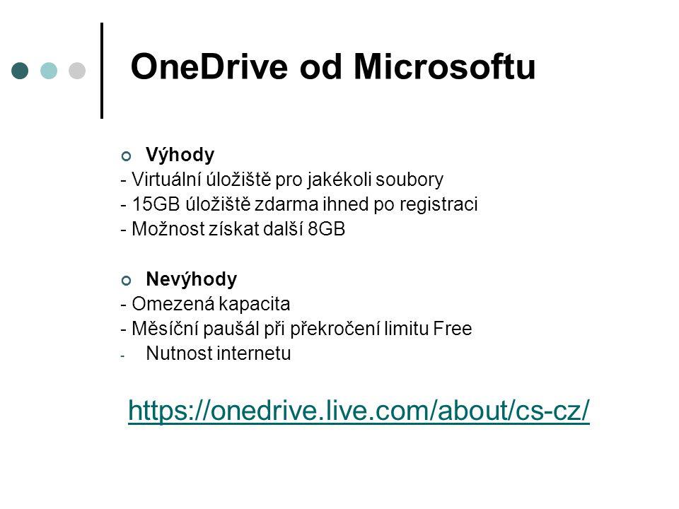 OneDrive od Microsoftu Výhody - Virtuální úložiště pro jakékoli soubory - 15GB úložiště zdarma ihned po registraci - Možnost získat další 8GB Nevýhody