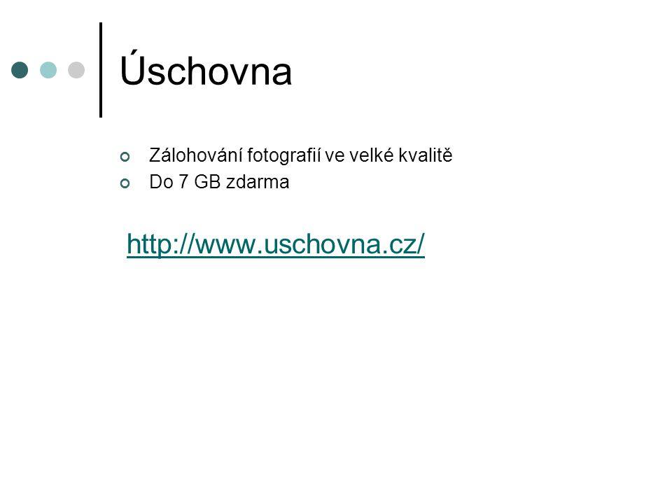 Úschovna Zálohování fotografií ve velké kvalitě Do 7 GB zdarma http://www.uschovna.cz/