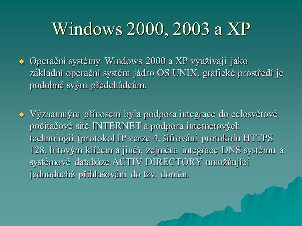 Windows 2000, 2003 a XP  Operační systémy Windows 2000 a XP využívají jako základní operační systém jádro OS UNIX, grafické prostředí je podobné svým předchůdcům.