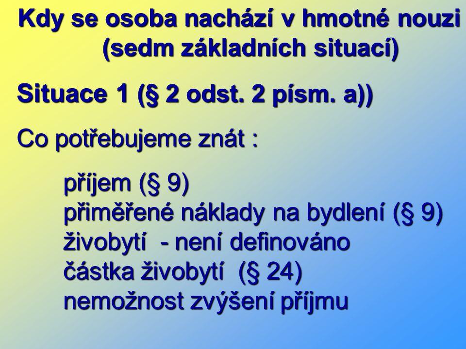Kdy se osoba nachází v hmotné nouzi (sedm základních situací) Situace 1 (§ 2 odst.
