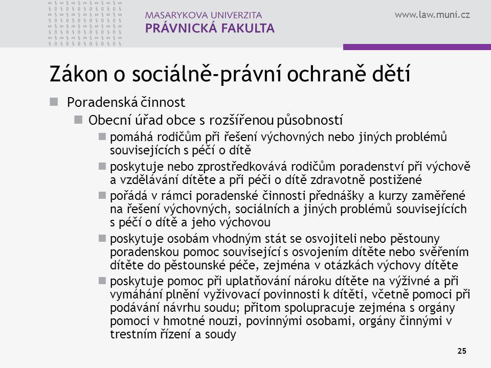 www.law.muni.cz 25 Zákon o sociálně-právní ochraně dětí Poradenská činnost Obecní úřad obce s rozšířenou působností pomáhá rodičům při řešení výchovný
