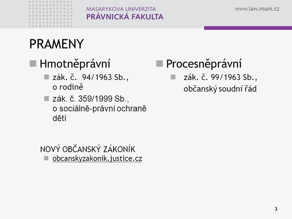 www.law.muni.cz PRAMENY 3 Hmotněprávní zák. č. 94/1963 Sb., o rodině zák. č. 359/1999 Sb., o sociálně-právní ochraně dětí NOVÝ OBČANSKÝ ZÁKONÍK obcans
