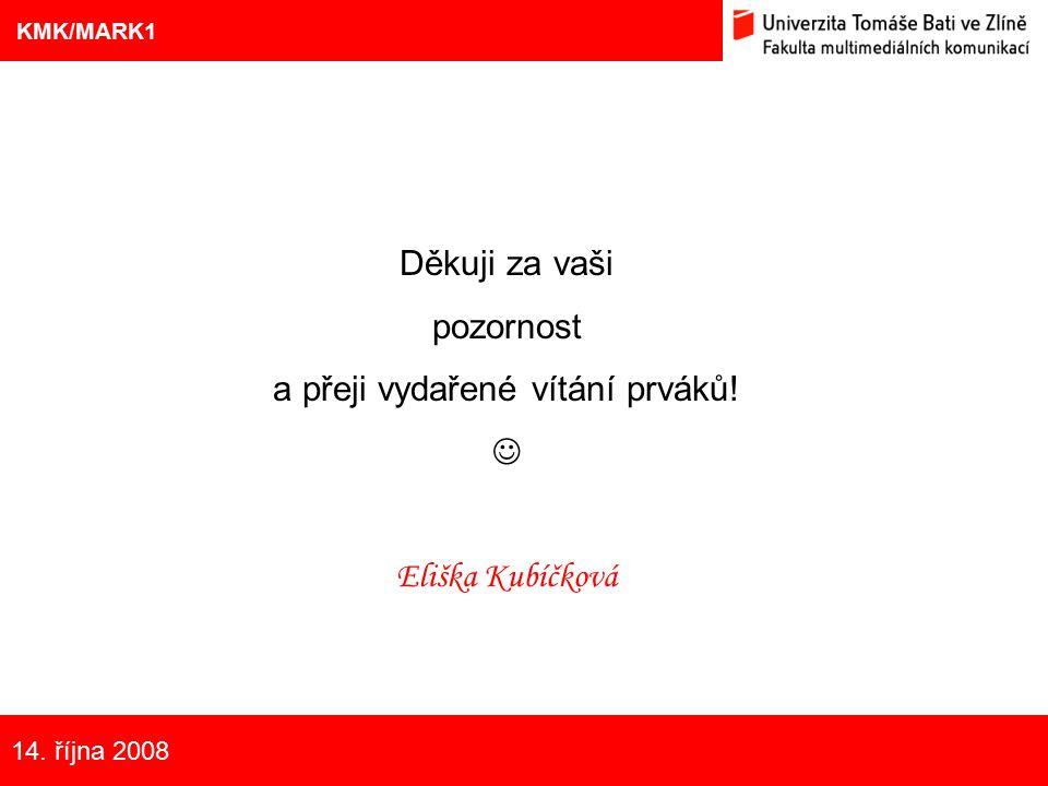 12 Eliška Kubíčková: Kulturní aspekty TV reklamy na pivo Děkuji za vaši pozornost a přeji vydařené vítání prváků! Eliška Kubíčková 12 KMK/MARK1 Nové t
