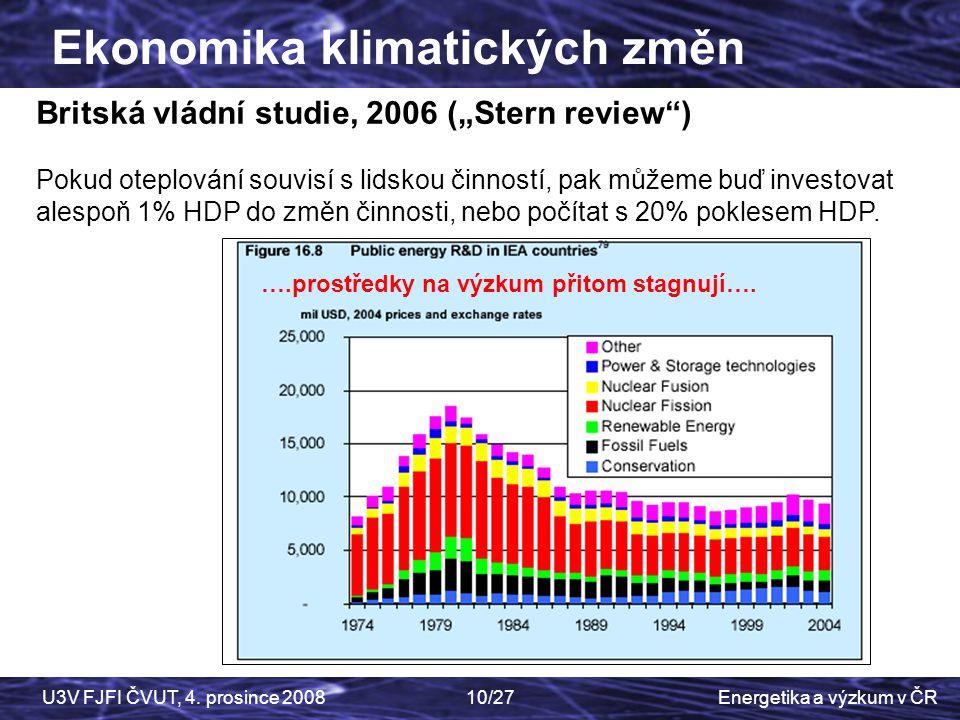 """Energetika a výzkum v ČRU3V FJFI ČVUT, 4. prosince 200810/27 Ekonomika klimatických změn Britská vládní studie, 2006 (""""Stern review"""") Pokud oteplování"""