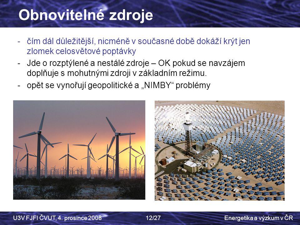Energetika a výzkum v ČRU3V FJFI ČVUT, 4. prosince 200812/27 -čím dál důležitější, nicméně v současné době dokáží krýt jen zlomek celosvětové poptávky
