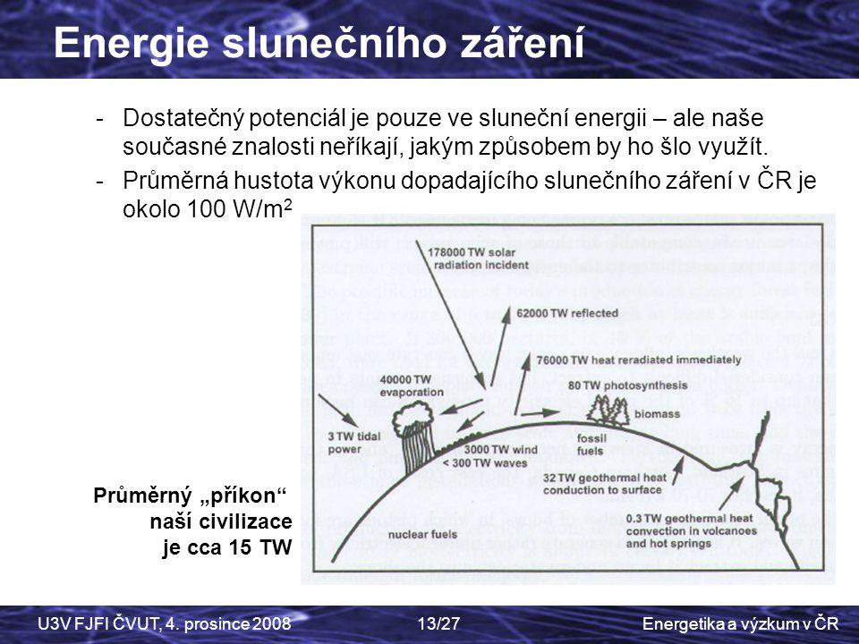 Energetika a výzkum v ČRU3V FJFI ČVUT, 4. prosince 200813/27 -Dostatečný potenciál je pouze ve sluneční energii – ale naše současné znalosti neříkají,