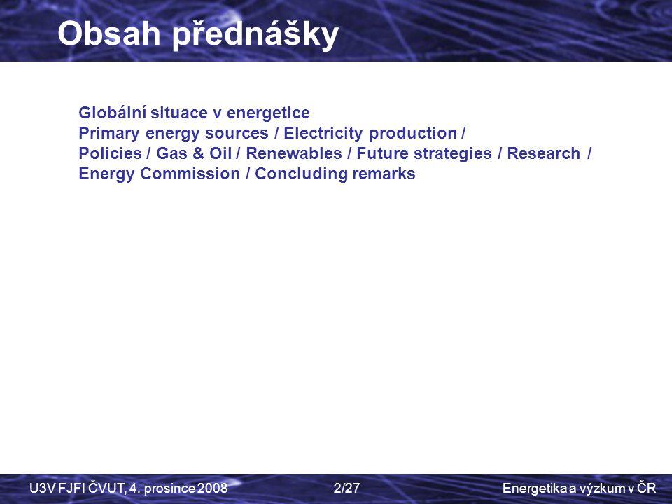 Energetika a výzkum v ČRU3V FJFI ČVUT, 4. prosince 20082/27 Czech Physics Society Globální situace v energetice Primary energy sources / Electricity p