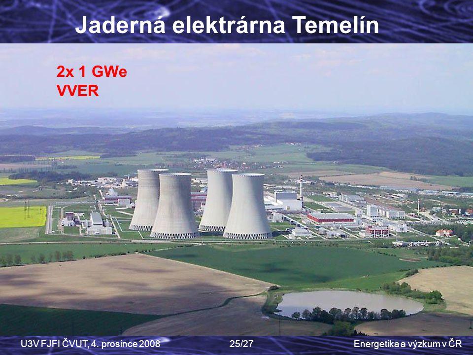 Energetika a výzkum v ČRU3V FJFI ČVUT, 4. prosince 200825/27 2x 1 GWe VVER Jaderná elektrárna Temelín