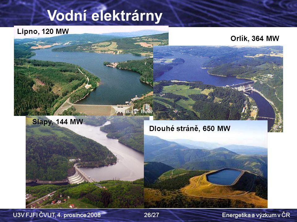 Energetika a výzkum v ČRU3V FJFI ČVUT, 4. prosince 200826/27 Lipno, 120 MW Orlík, 364 MW Slapy, 144 MW Dlouhé stráně, 650 MW Vodní elektrárny