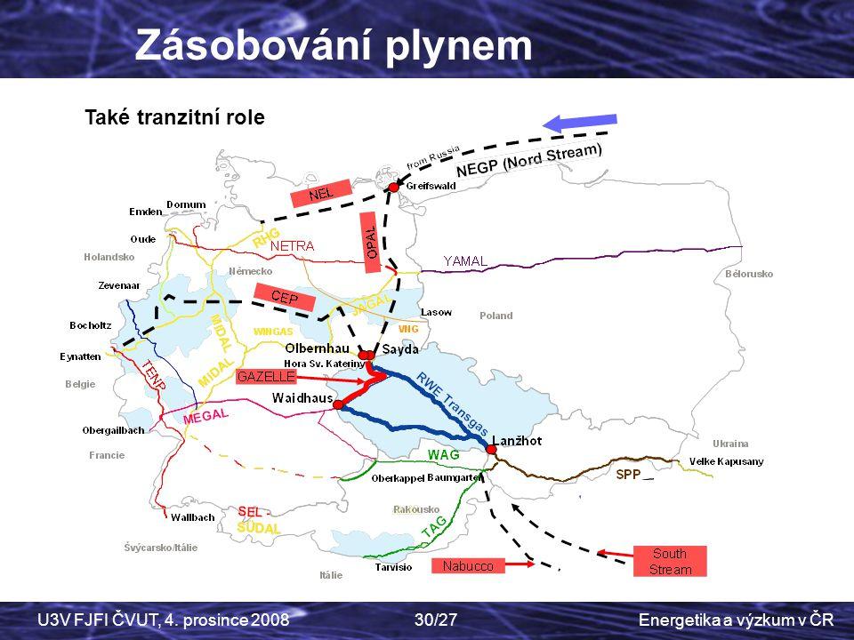 Energetika a výzkum v ČRU3V FJFI ČVUT, 4. prosince 200830/27 Zásobování plynem Také tranzitní role