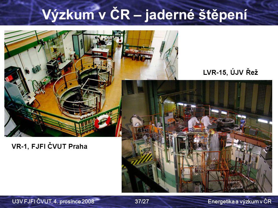 Energetika a výzkum v ČRU3V FJFI ČVUT, 4. prosince 200837/27 Výzkum v ČR – jaderné štěpení VR-1, FJFI ČVUT Praha LVR-15, ÚJV Řež