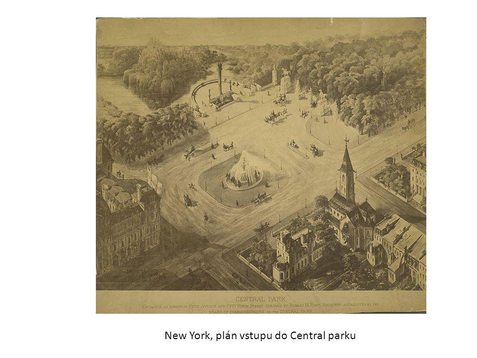 New York, plán vstupu do Central parku