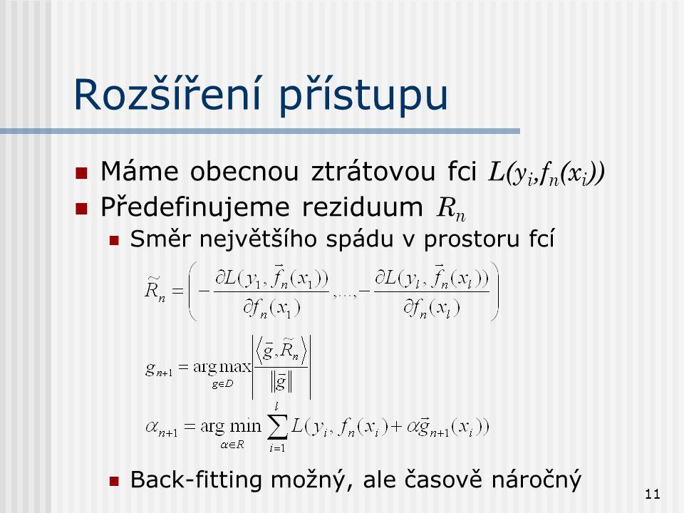 11 Rozšíření přístupu Máme obecnou ztrátovou fci L(y i,f n (x i )) Předefinujeme reziduum R n Směr největšího spádu v prostoru fcí Back-fitting možný, ale časově náročný