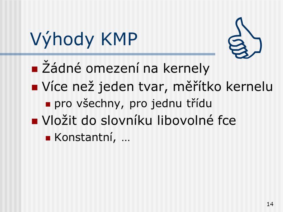 14 Výhody KMP Žádné omezení na kernely Více než jeden tvar, měřítko kernelu pro všechny, pro jednu třídu Vložit do slovníku libovolné fce Konstantní, … 
