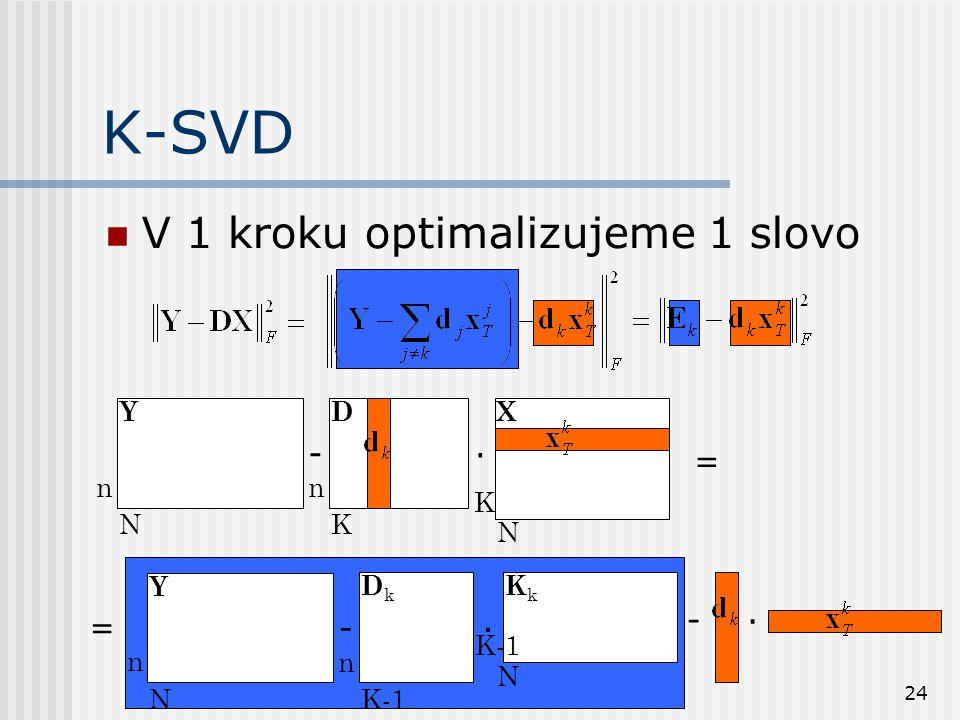 24 -. n N n K K N YDX = K-SVD V 1 kroku optimalizujeme 1 slovo -. n N n K-1 N Y DkDk KkKk -. =
