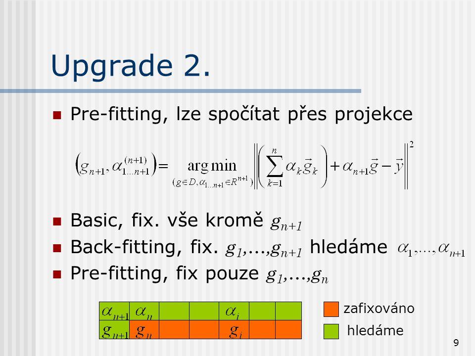 9 Upgrade 2. Pre-fitting, lze spočítat přes projekce Basic, fix.