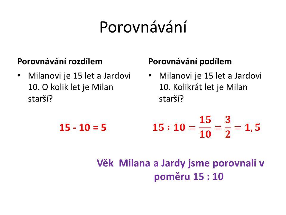 Porovnávání Porovnávání rozdílem Milanovi je 15 let a Jardovi 10.
