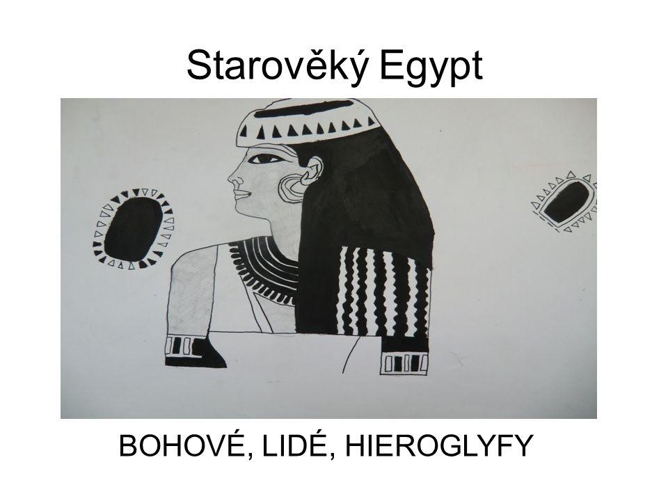 Malířství starého Egypta výpověd o světě lidí, bohů, zvířat i neživých věcí výjevy zobrazované v pásech a doplněné texty postavy znázorněné pomocí hieratické perspektivy – hlava a nohy z profilu, tělo zepředu nejčastěji užívané barvy - okrová, bílá, hnědá, černá, modrá, zelená