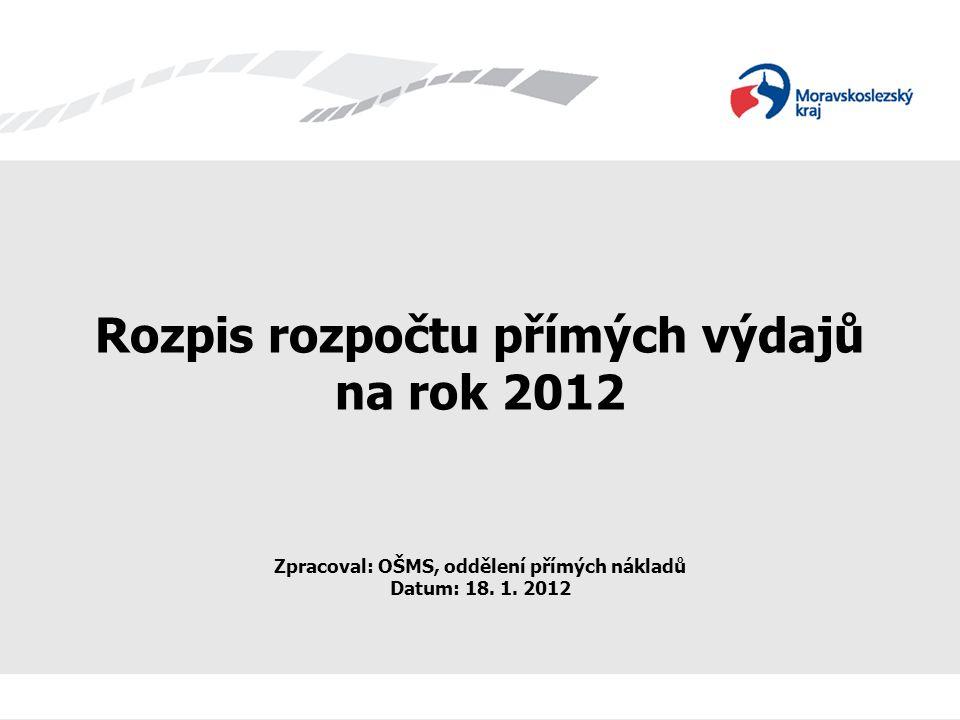 Rozpis rozpočtu přímých výdajů na rok 2012 Zpracoval: OŠMS, oddělení přímých nákladů Datum: 18. 1. 2012