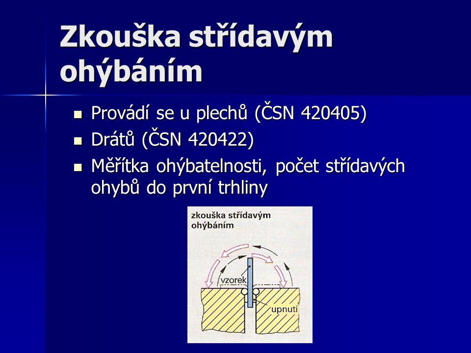 Zkouška střídavým ohýbáním Provádí se u plechů (ČSN 420405) Provádí se u plechů (ČSN 420405) Drátů (ČSN 420422) Drátů (ČSN 420422) Měřítka ohýbatelnosti, počet střídavých ohybů do první trhliny Měřítka ohýbatelnosti, počet střídavých ohybů do první trhliny