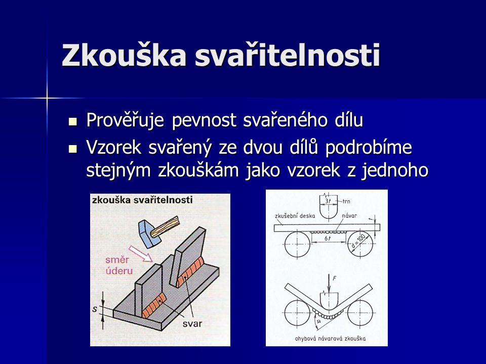 Zkouška svařitelnosti Prověřuje pevnost svařeného dílu Prověřuje pevnost svařeného dílu Vzorek svařený ze dvou dílů podrobíme stejným zkouškám jako vzorek z jednoho Vzorek svařený ze dvou dílů podrobíme stejným zkouškám jako vzorek z jednoho