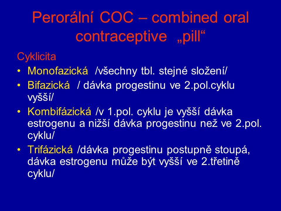 """Perorální COC – combined oral contraceptive """"pill"""" Cyklicita Monofazická /všechny tbl. stejné složení/ Bifazická / dávka progestinu ve 2.pol.cyklu vyš"""
