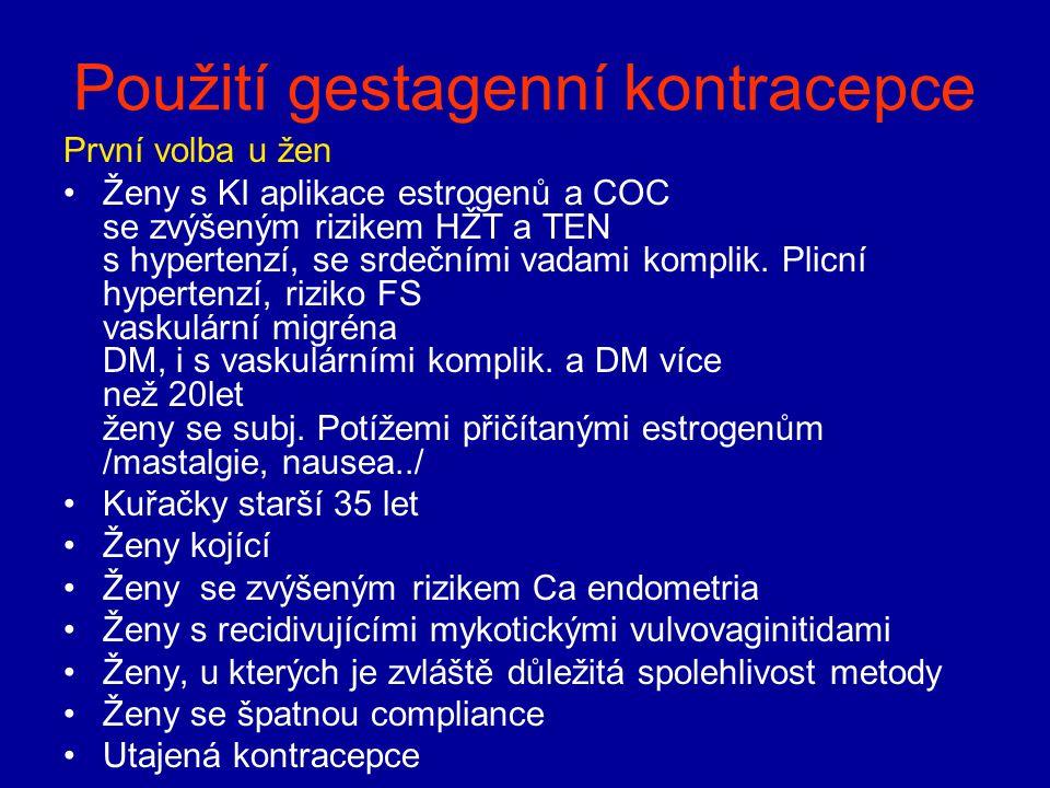 Použití gestagenní kontracepce První volba u žen Ženy s KI aplikace estrogenů a COC se zvýšeným rizikem HŽT a TEN s hypertenzí, se srdečními vadami ko