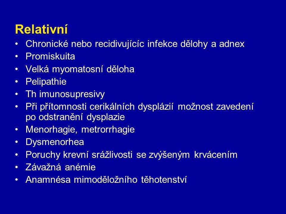 Relativní Chronické nebo recidivujícíc infekce dělohy a adnex Promiskuita Velká myomatosní děloha Pelipathie Th imunosupresivy Při přítomnosti cerikál