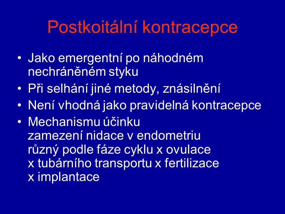 Postkoitální kontracepce Jako emergentní po náhodném nechráněném styku Při selhání jiné metody, znásilnění Není vhodná jako pravidelná kontracepce Mec