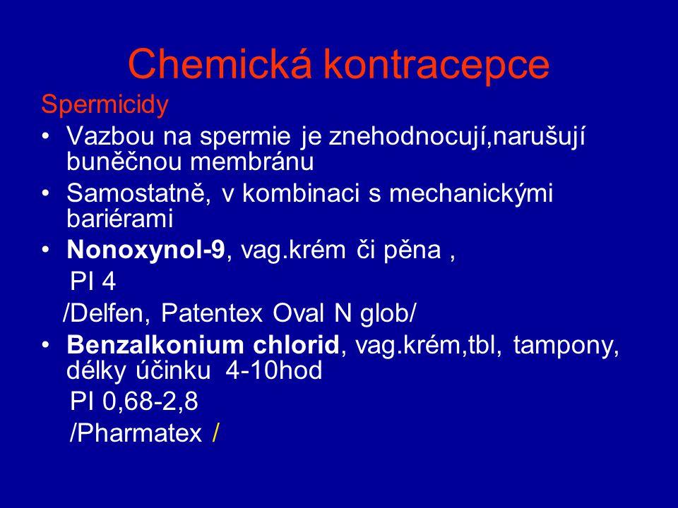 Chemická kontracepce Spermicidy Vazbou na spermie je znehodnocují,narušují buněčnou membránu Samostatně, v kombinaci s mechanickými bariérami Nonoxyno