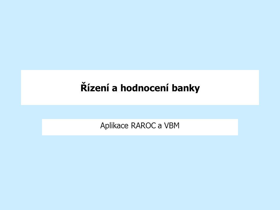 Řízení a hodnocení banky Aplikace RAROC a VBM