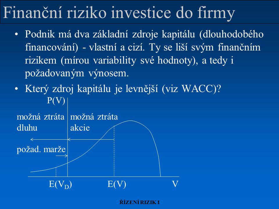ŘÍZENÍ RIZIK I Finanční riziko investice do firmy Podnik má dva základní zdroje kapitálu (dlouhodobého financování) - vlastní a cizí. Ty se liší svým