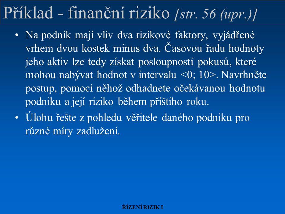 ŘÍZENÍ RIZIK I Příklad - finanční riziko [str. 56 (upr.)] Na podnik mají vliv dva rizikové faktory, vyjádřené vrhem dvou kostek minus dva. Časovou řad