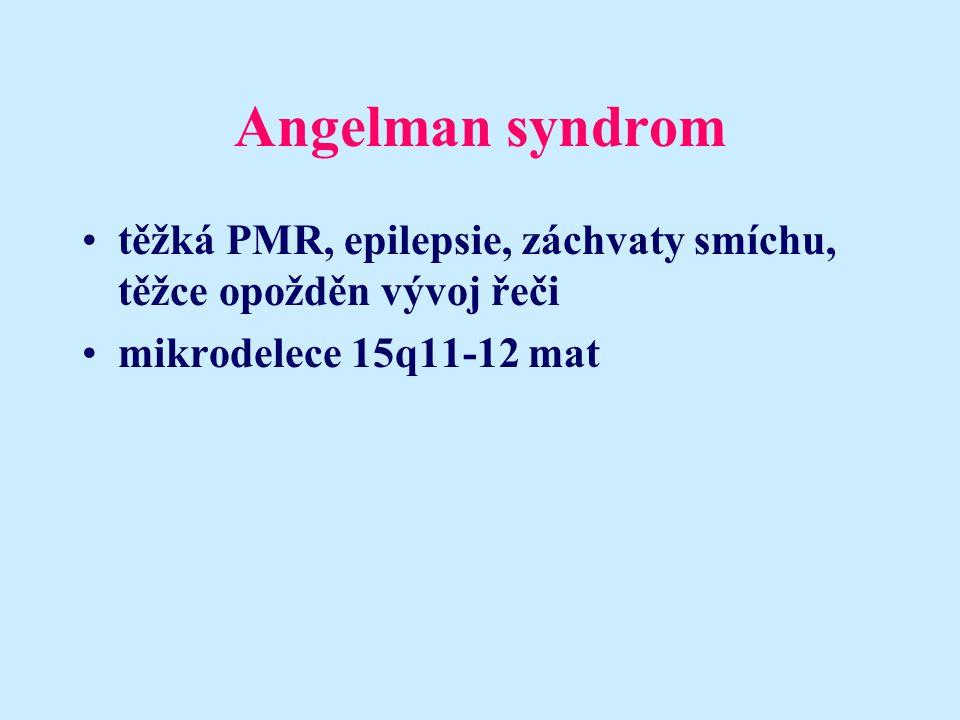 Angelman syndrom těžká PMR, epilepsie, záchvaty smíchu, těžce opožděn vývoj řeči mikrodelece 15q11-12 mat