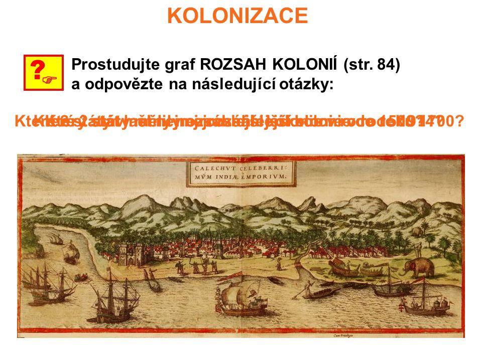 KOLONIZACE  ? Prostudujte graf ROZSAH KOLONIÍ (str. 84) a odpovězte na následující otázky: Který stát měl nejrozsáhlejší kolonie v roce 1500?Které 2
