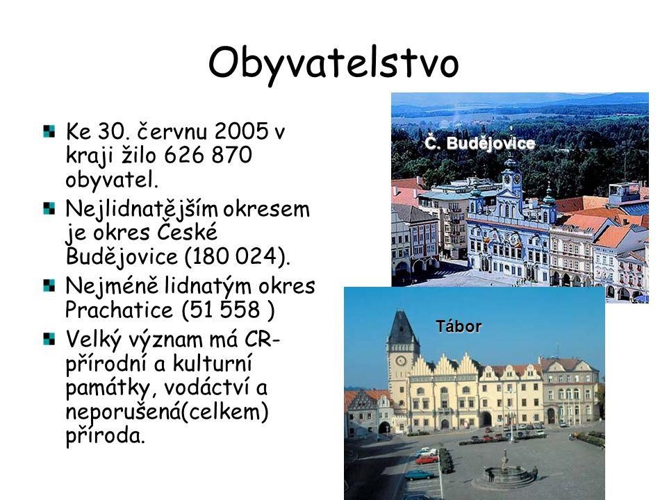 Obyvatelstvo Ke 30. červnu 2005 v kraji žilo 626 870 obyvatel. Nejlidnatějším okresem je okres České Budějovice (180 024). Nejméně lidnatým okres Prac