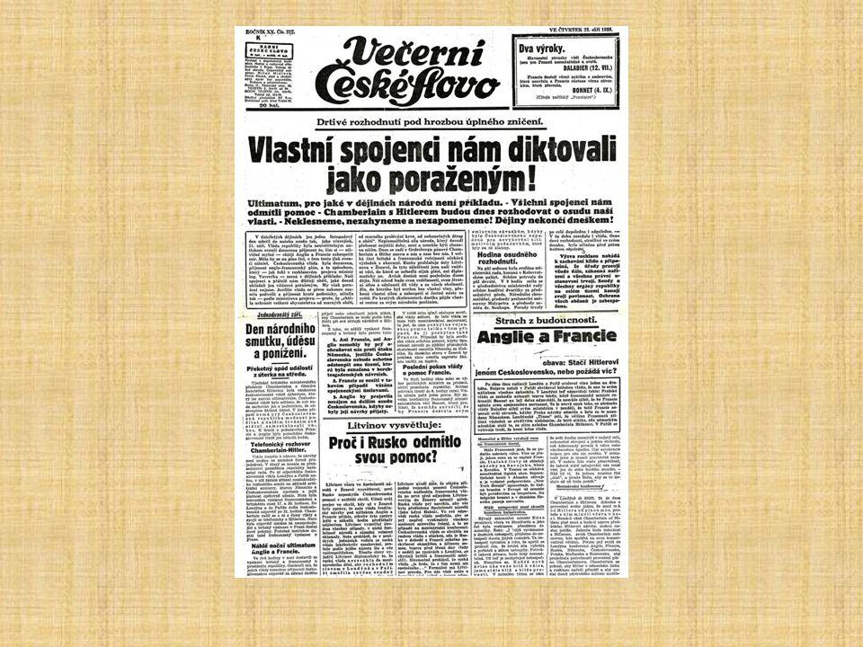 Mnichovská dohoda demonstrace proti nátlaku spojenců 22. září