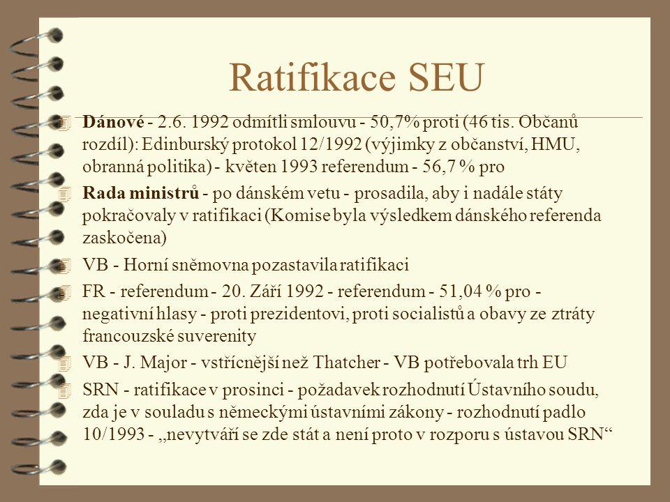 Ratifikace SEU 4 Dánové - 2.6. 1992 odmítli smlouvu - 50,7% proti (46 tis. Občanů rozdíl): Edinburský protokol 12/1992 (výjimky z občanství, HMU, obra